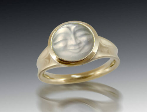 Carved Moonstone Bezel Ring