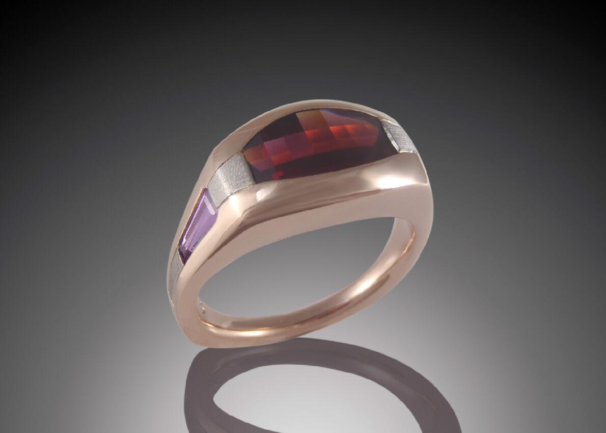 Garnet & Lavender Sapphire Mens Ring