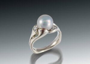 White Pearl Diamond Ring
