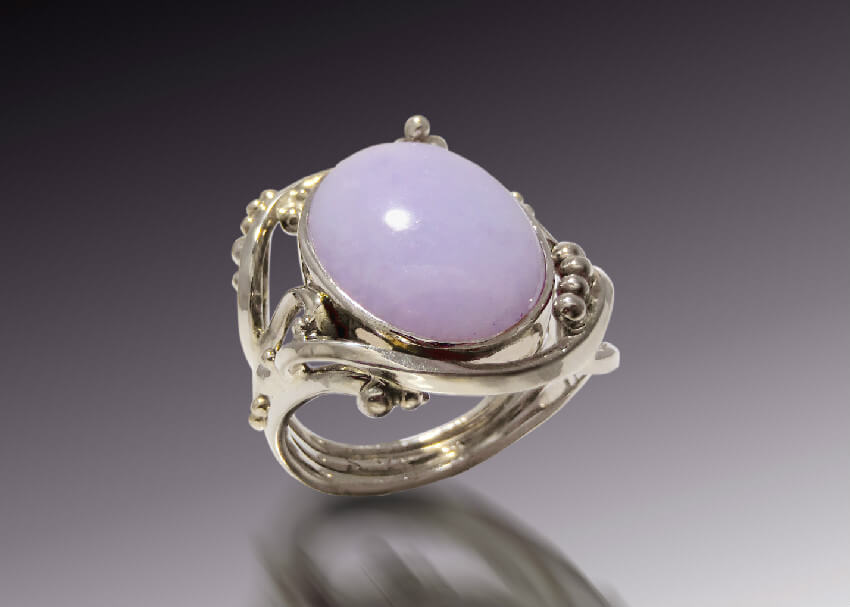 Purple Jade White Gold Ring