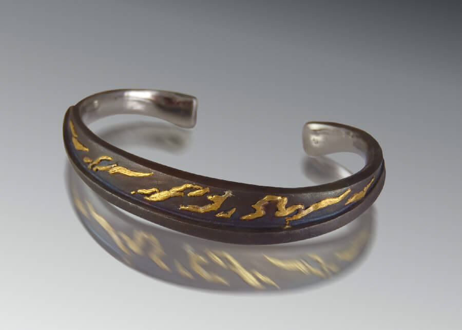 Steel Gold Flames Bracelet