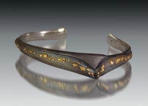 Steel & Gold Spark Cuff Bracelet