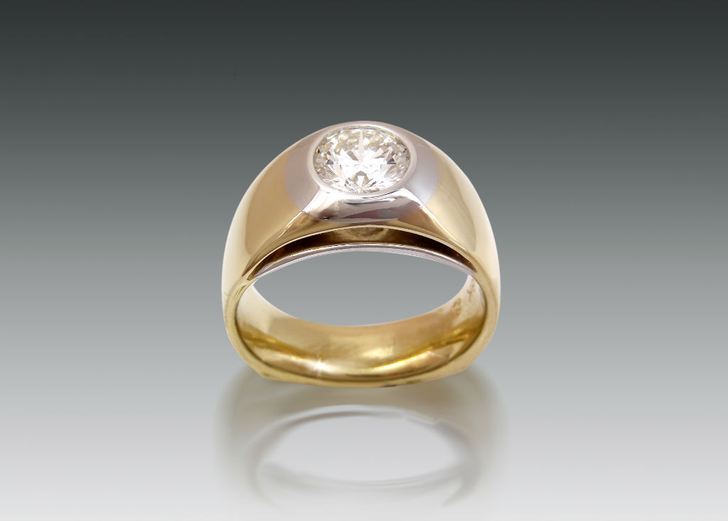 Platinum and Gold Diamond Bezel Ring Mens