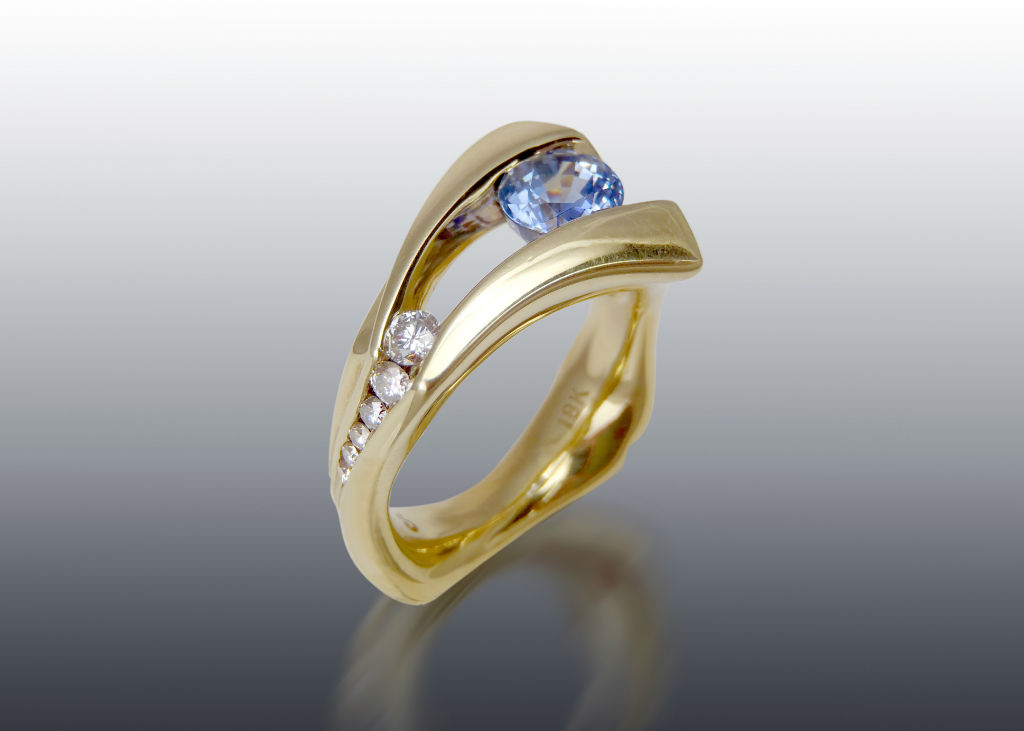 Suspended Sapphire and Diamond Ring 18k