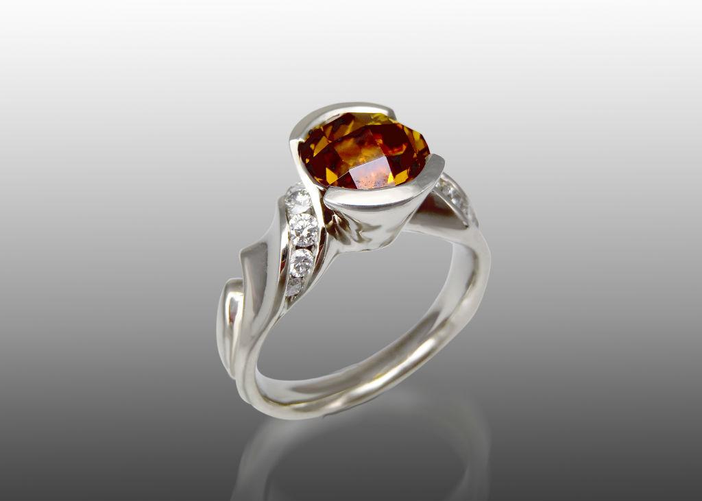 mali garnet and diamond white gold ring