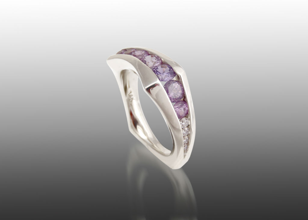 purple sapphire and diamond channel ring