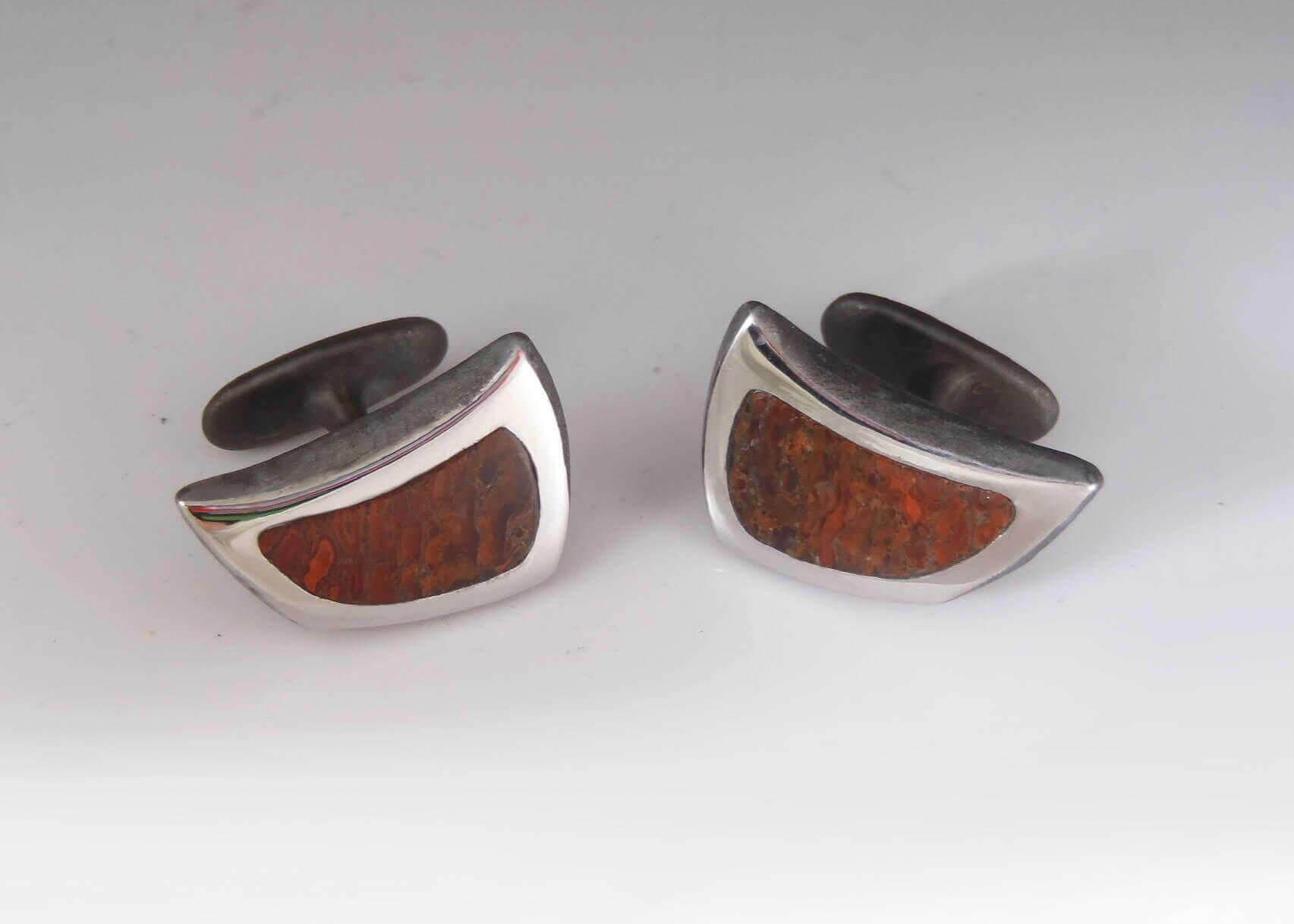 dino bone steel cufflinks