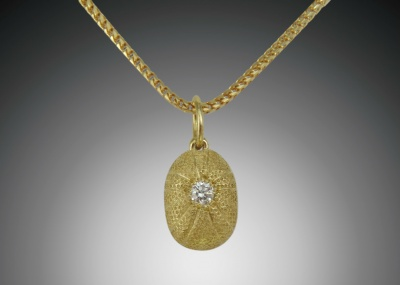 Gold Diamond Sea Urchin Pendant