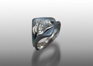 diamond crystal steel ring