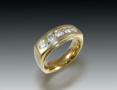 Mens Diamond Channel Ring