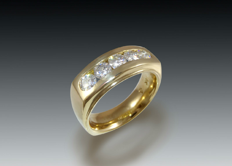 mens diamond gold channel band