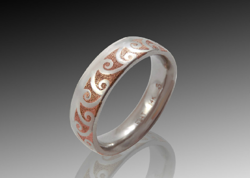 platinum rose gold wave band