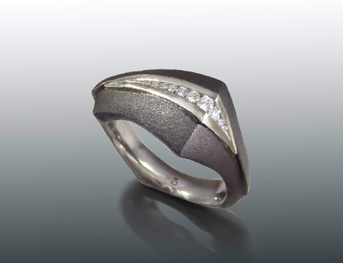 Steel & Diamond Channel Ring