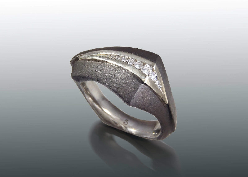 steel white gold diamond ring