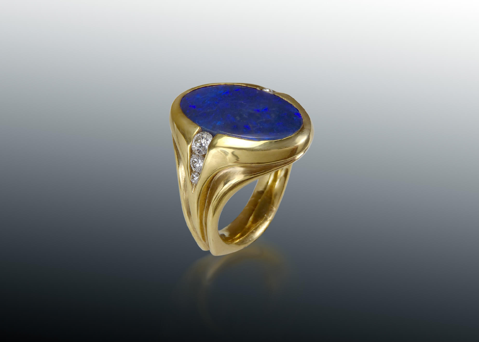 black opal cabochon diamond 18k ring