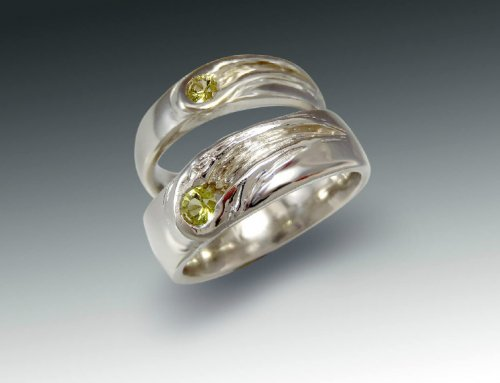 Pallasite Wedding Ring Set