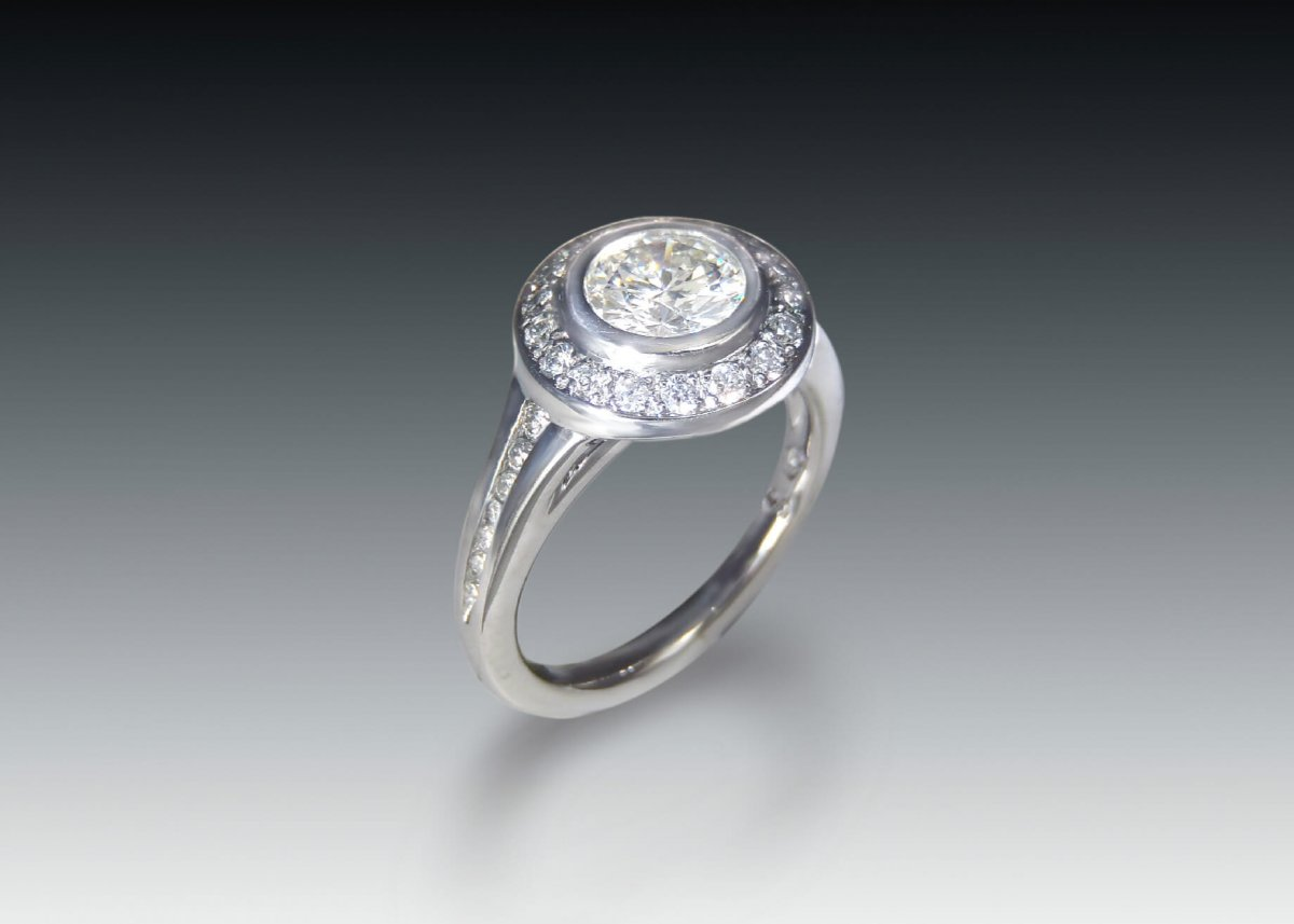 Palladium bezel moissanite halo engagement ring