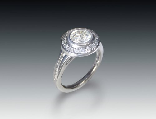 Moissanite Halo Bezel Ring