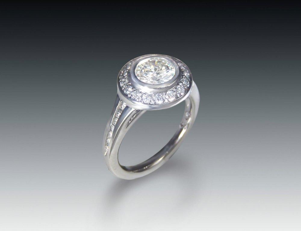Moissanite Halo Bezel Ring