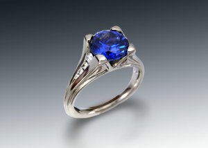 synthetic sapphire and diamond engagement ring