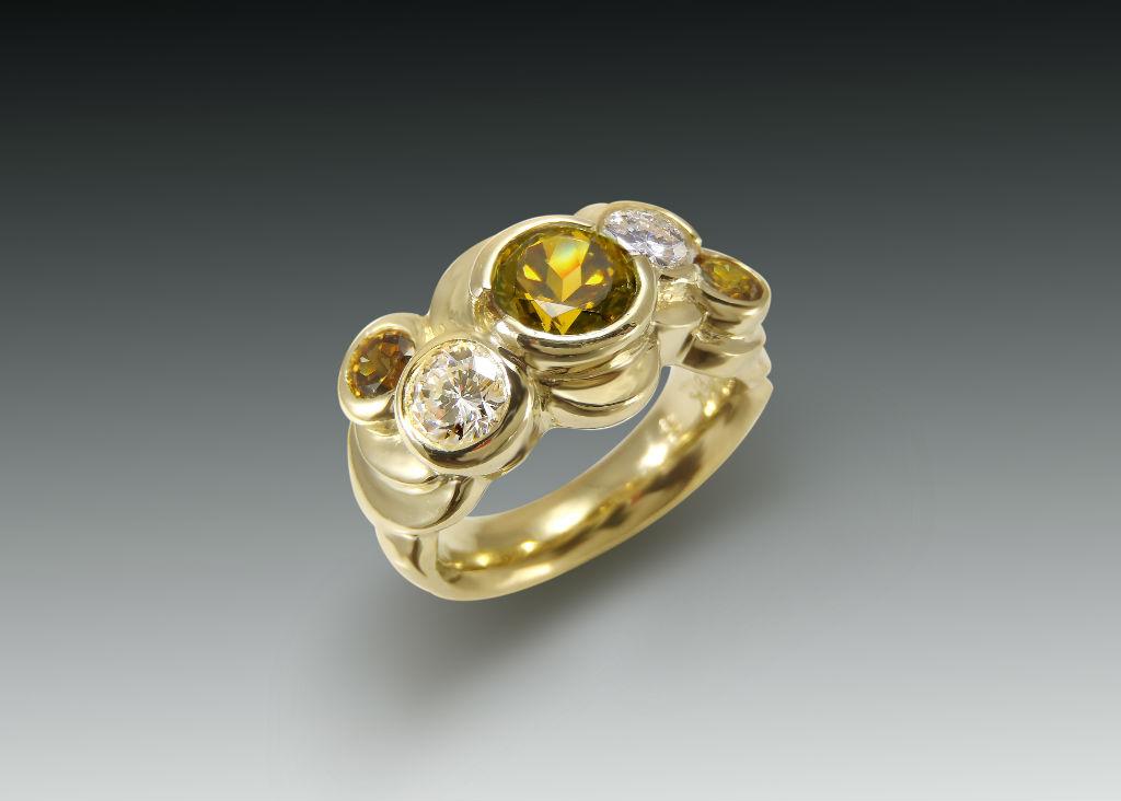 Mali Garnet and Diamond Multi Bezel Ring