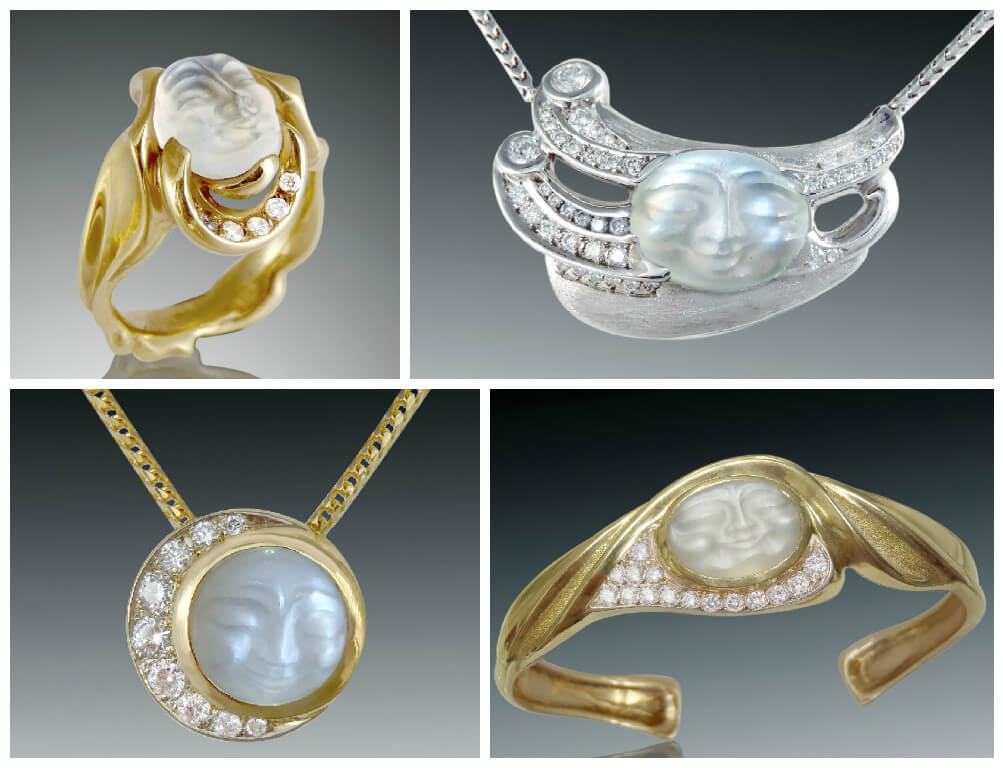 Designer Carved Moonstone Jewelry