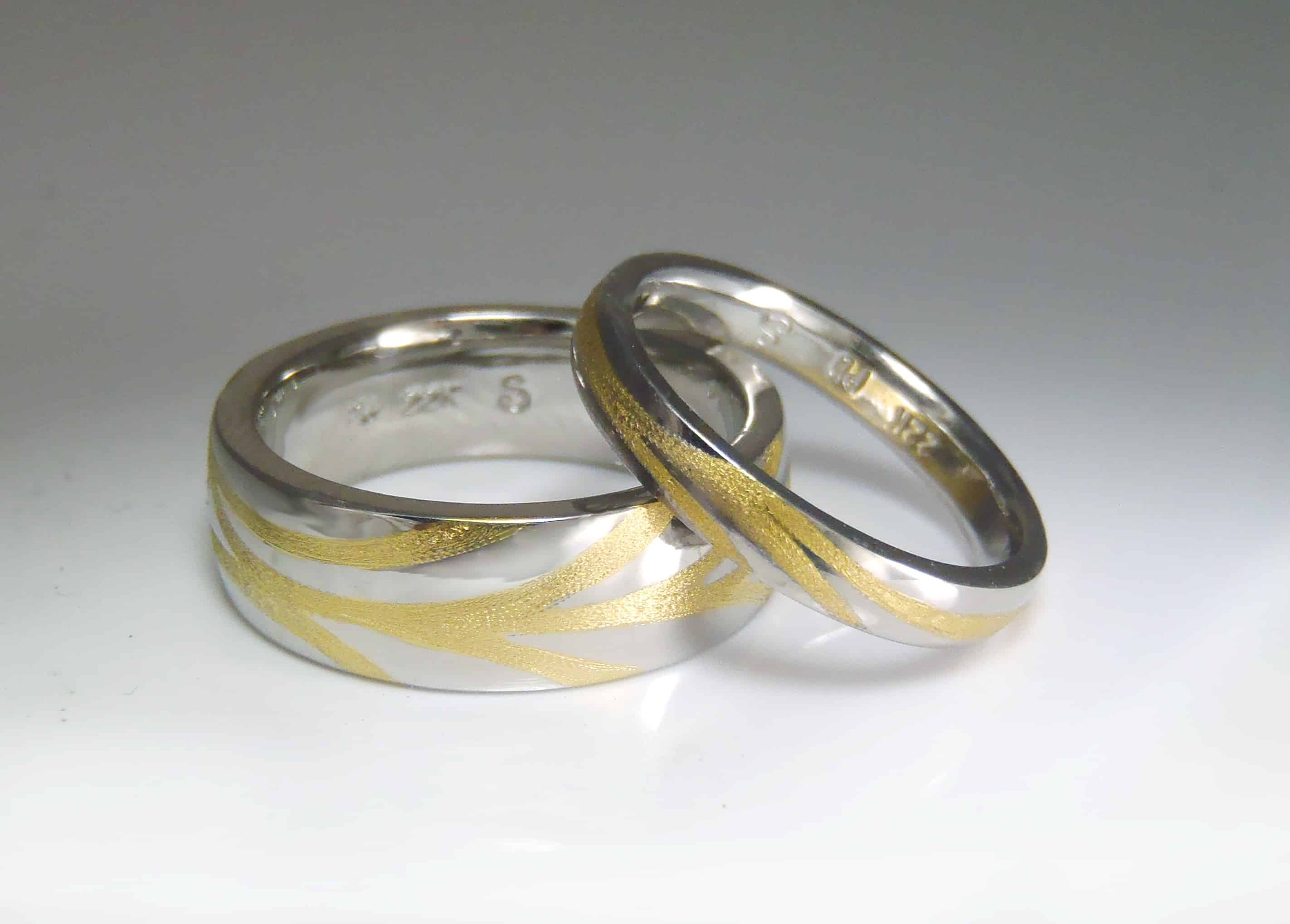 Palladium 22k inlaid wedding bands