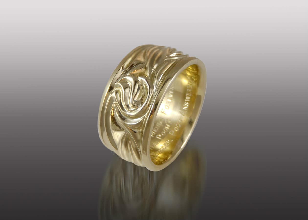 carved gold wide band
