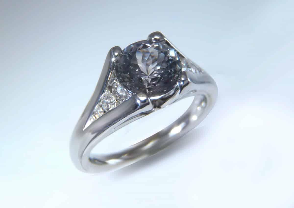 Gray sapphire engagement ring