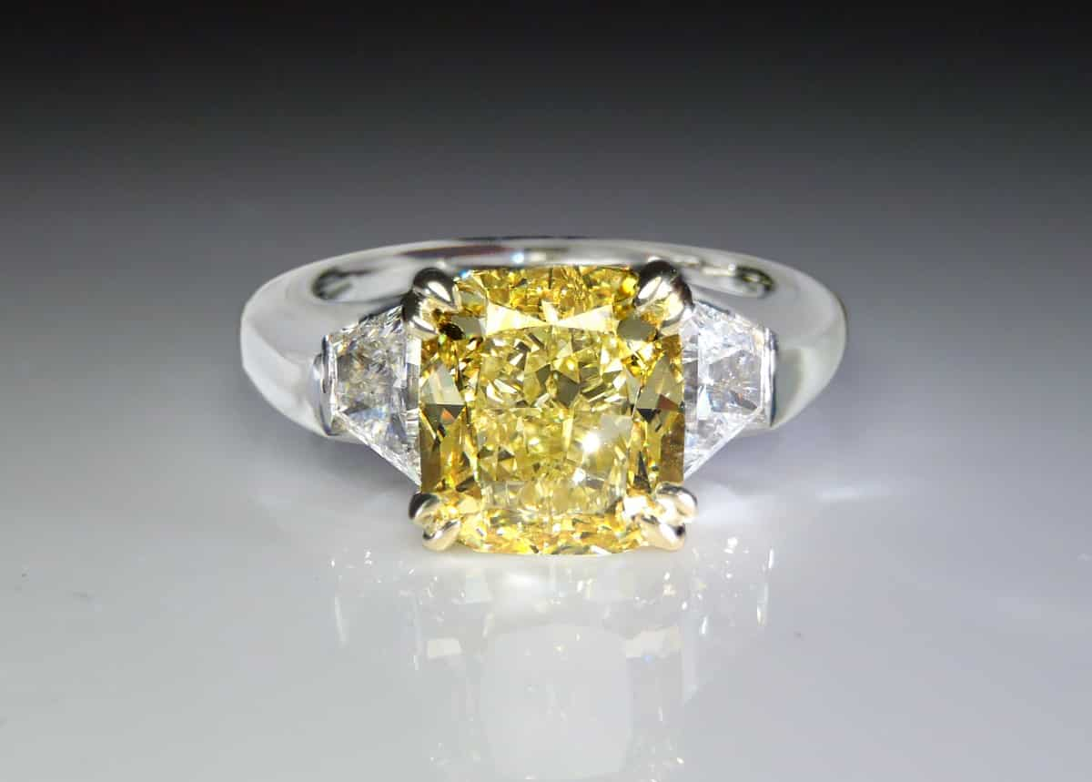 3.33ct natural intense yellow diamond platinum ring
