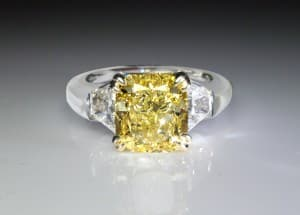 3.33ct natural intense yellow diamond platinum ring