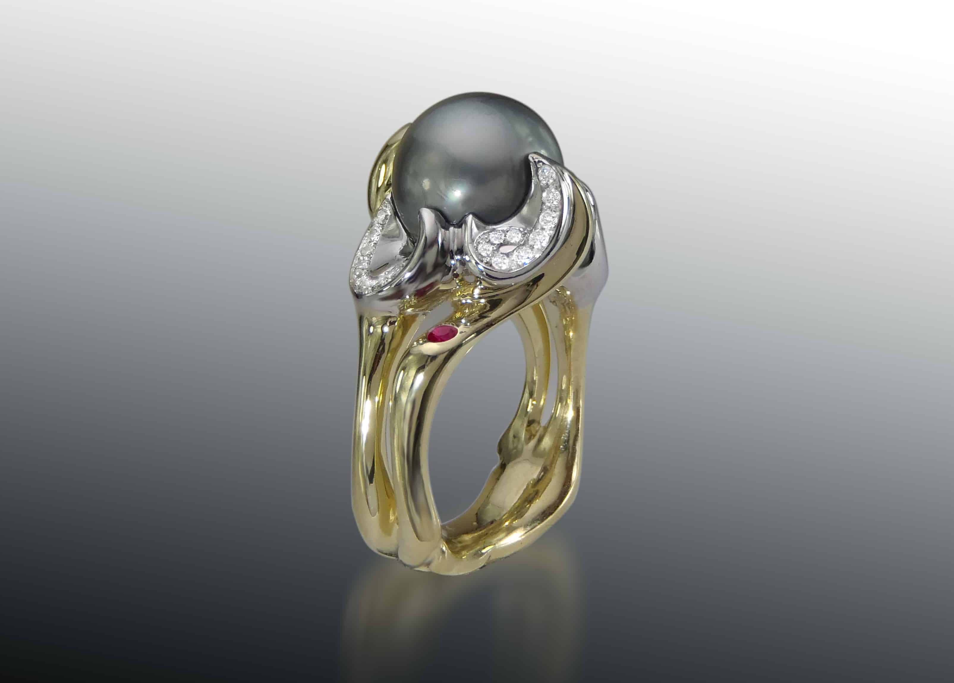 Tahitian Pearl Gemstone Ring Palladium 18k