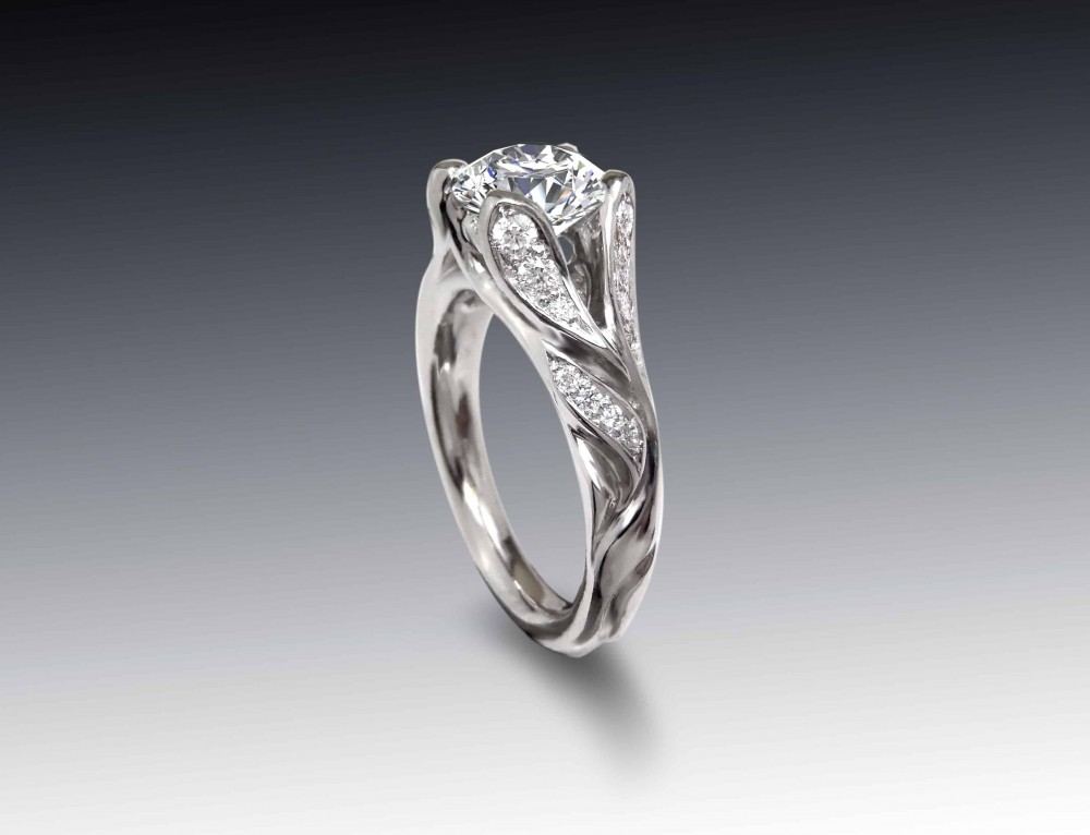 Platinum Floral Engagement Ring