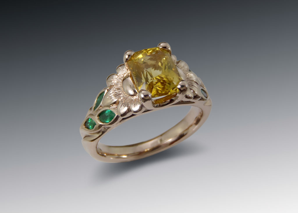 Sunflower ring with golden sapphire and emeralds in rose gold