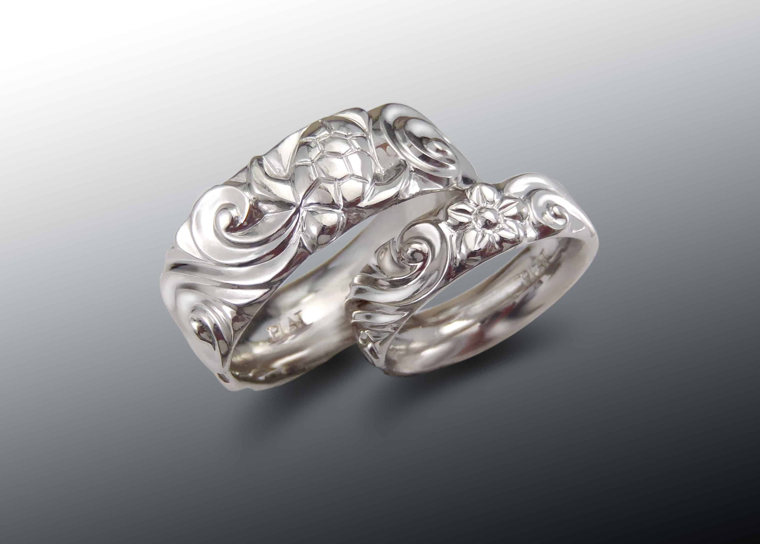 Platinum Turtle Wave Wedding Band Set