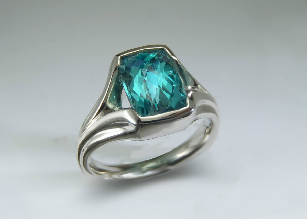 aqua tourmaline palladium ring