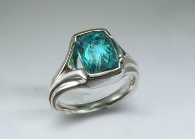 aqua tourmaline palladium ring