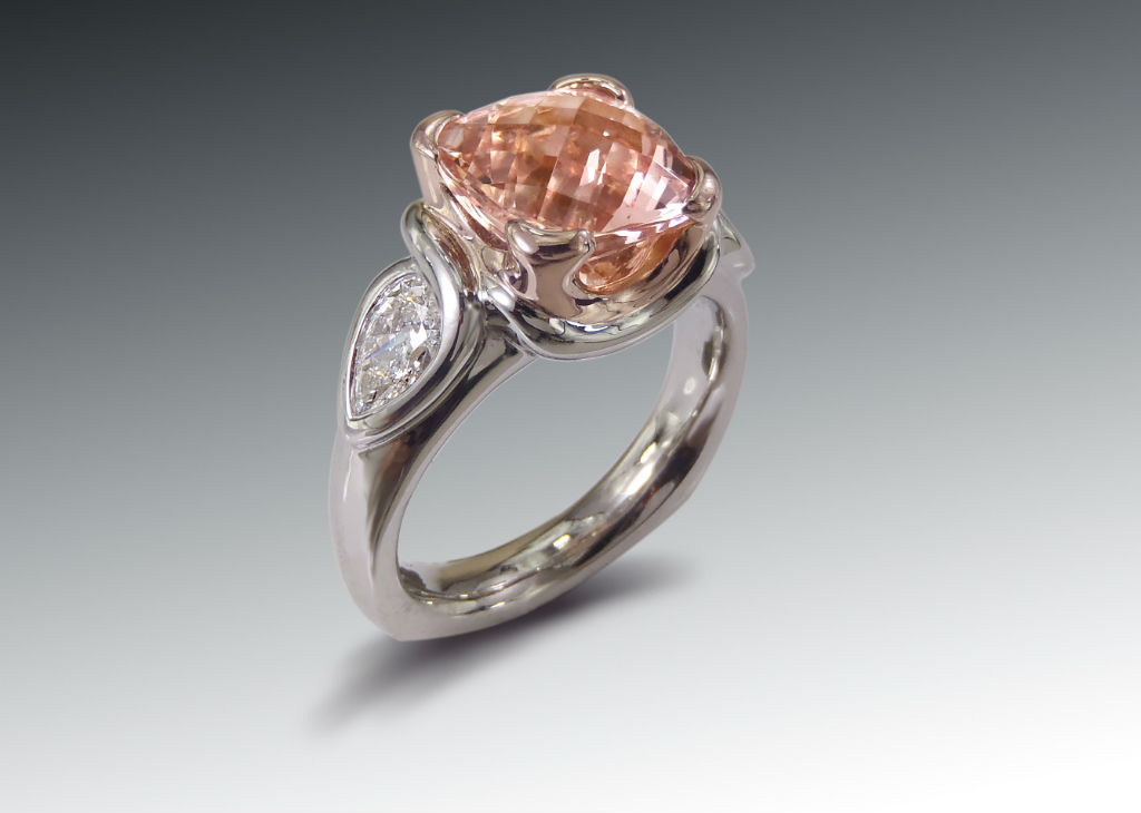morganite platinum rose gold ring