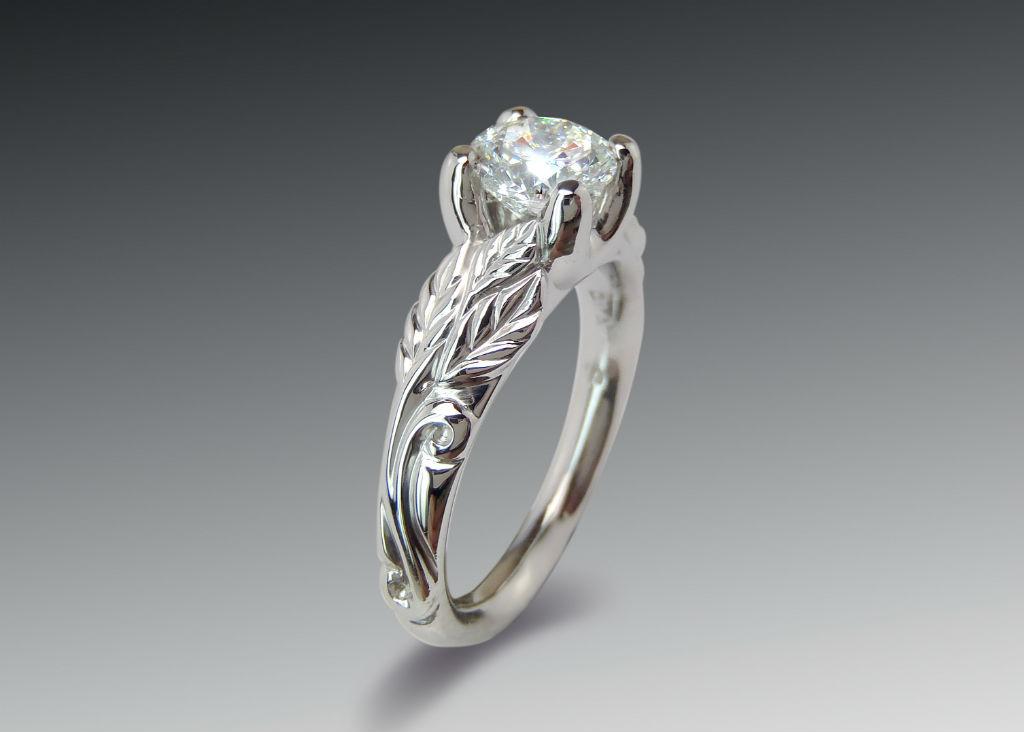 Platinum Leafy Diamond Engagement Ring