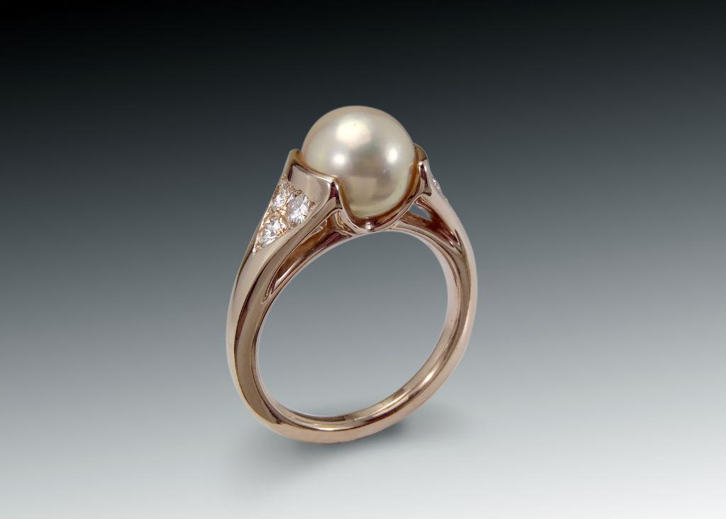 Pearl Moissanite Rose Gold Ring