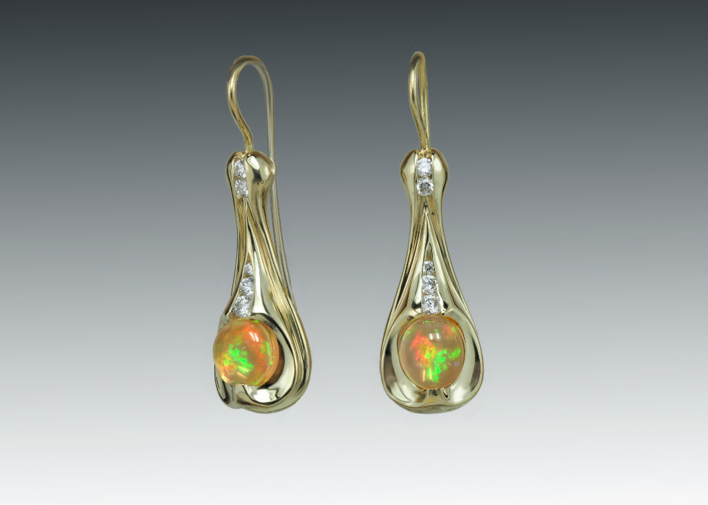 Fire Opal Diamond 18k Dangle Earrings
