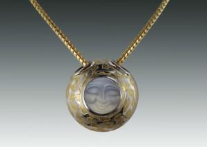 carved moonstone leopard pattern pendant