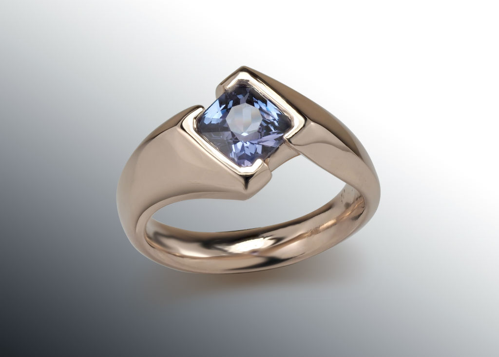 Cushion Purple Sapphire Rose Gold Ring
