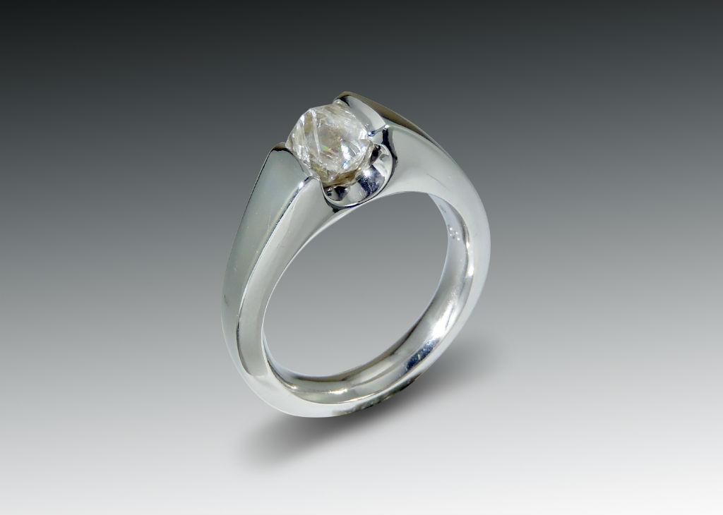 RAW DIAMOND CRYSTAL PALLADIUM RING