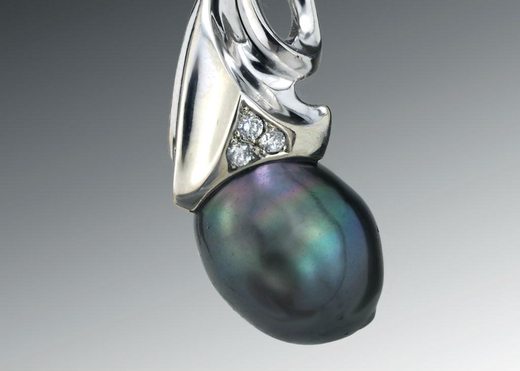 Black Pearl Palladium Diamond Pendant crop
