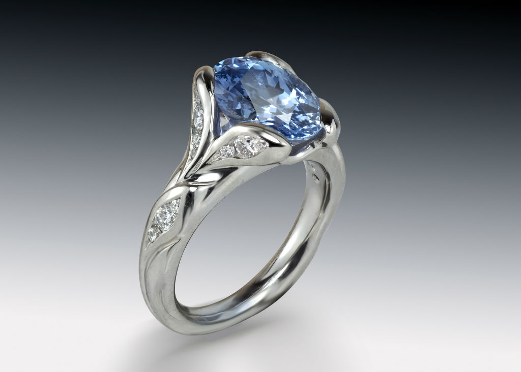 Blue Purple Sapphire Diamond Ring