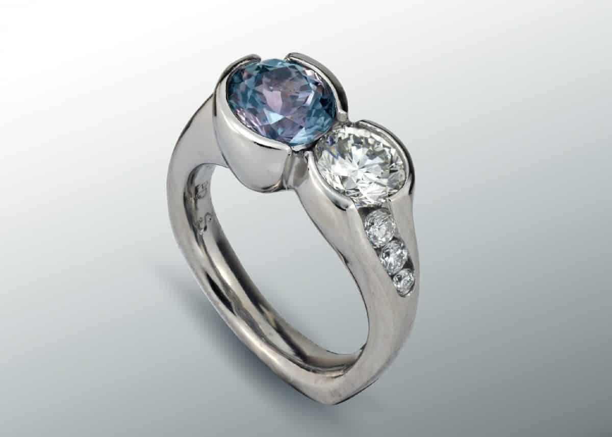 Double Stone Sapphire Diamond Ring