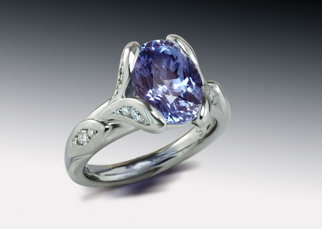 Purple Blue Sapphire Diamond Ring