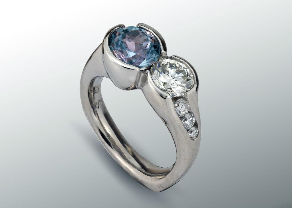 Sapphire Diamond Double Stone Ring