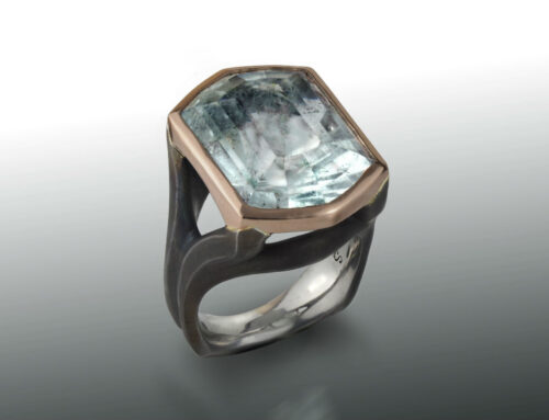 Aquamarine, Steel and Rose Gold Ring